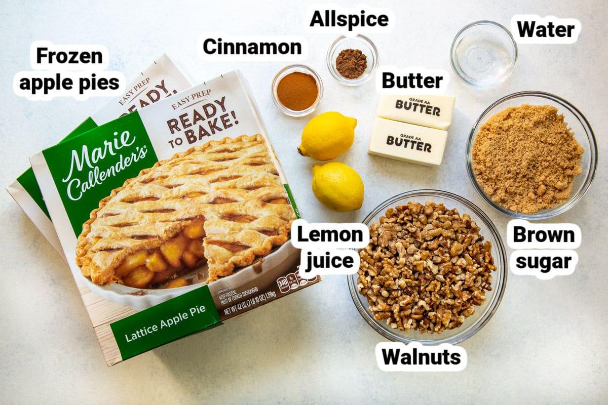 Labeled ingredients for apple walnut cobbler.