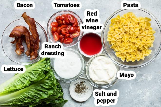 Labeled ingredients for BLT pasta salad.