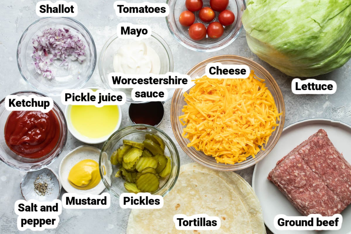 Labeled ingredients for Cheeseburger Quesadillas.