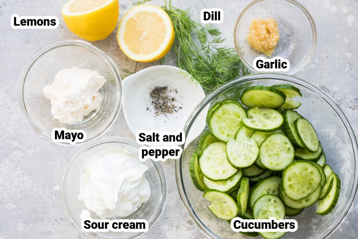 Labeled ingredients for creamy cucumber salad.