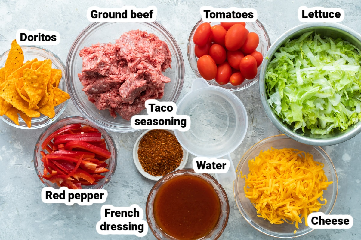 Labeled ingredients for Dorito Taco Salad