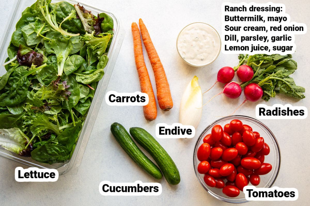 Labeled ingredients for Easy Garden Salad.