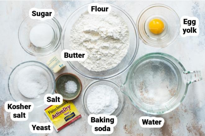 Labeled ingredients for homemade soft pretzels.
