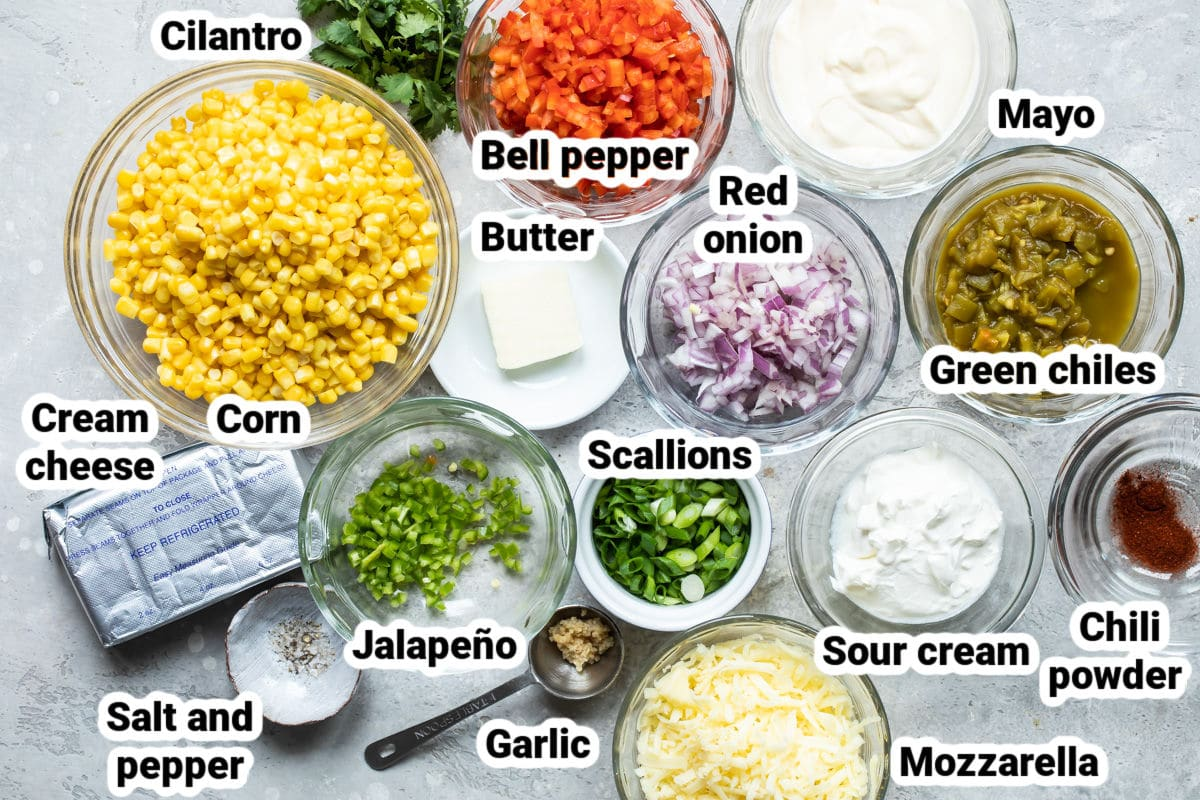 Labeled ingredients for hot corn dip.