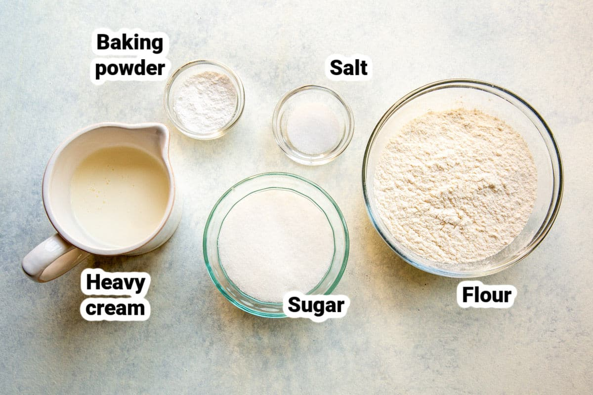 Labeled ingredients for making biscuits.