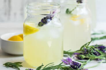 Three jars of lavender lemonade.