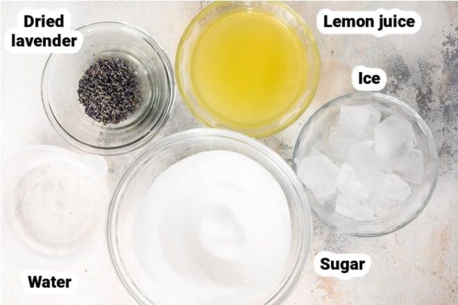 Labeled ingredients for lavender lemonade.