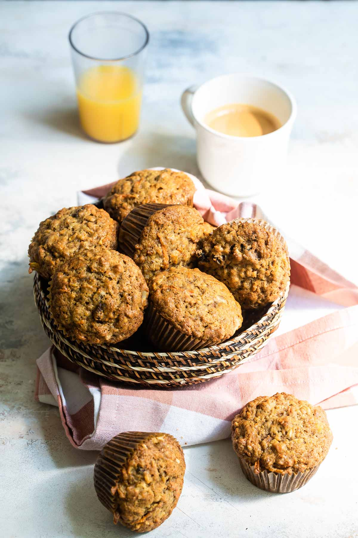 A basket filled with morning glory muffins.
