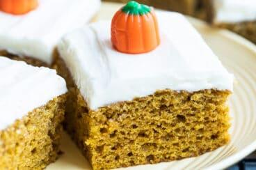 Pumpkin bars on a white plate.