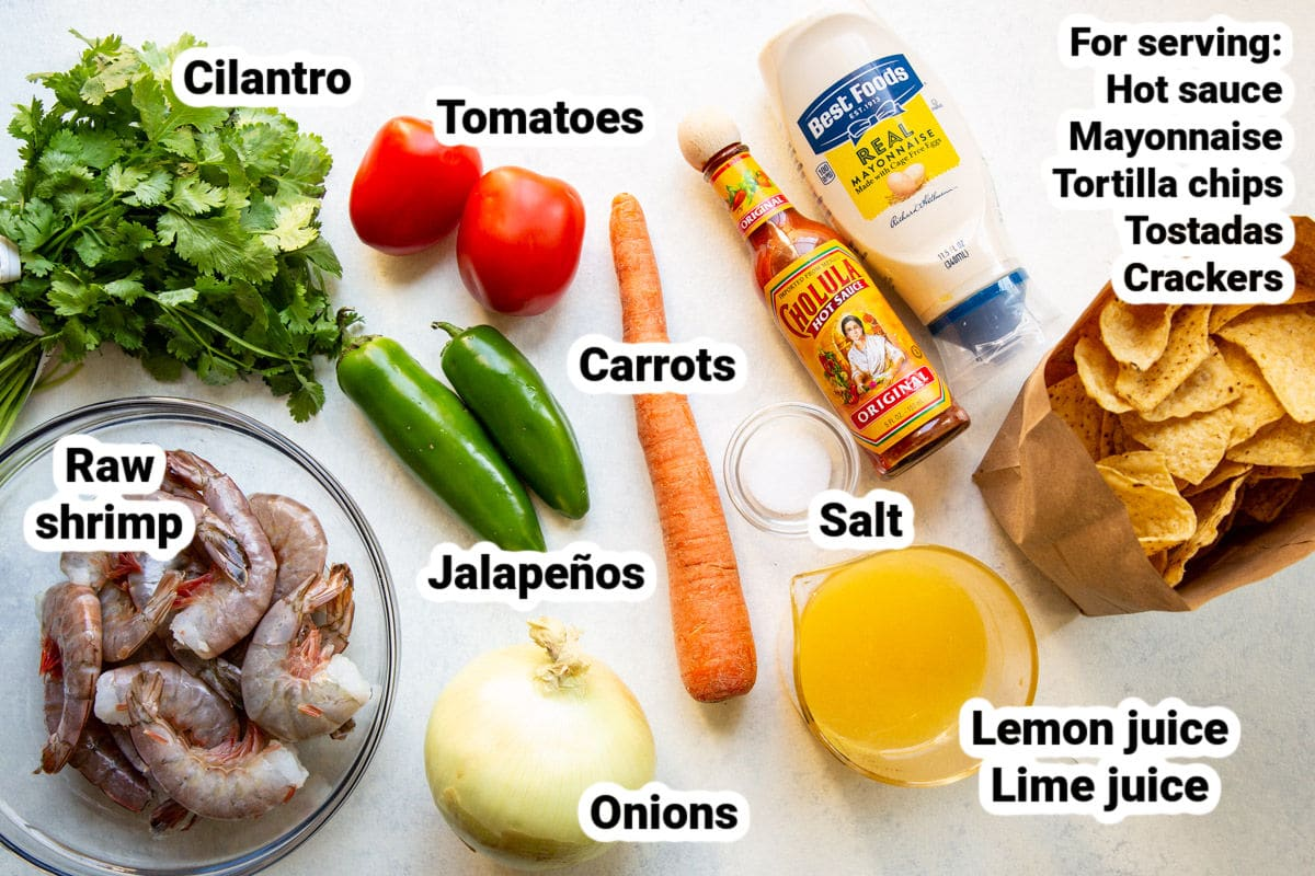 Labeled shrimp ceviche ingredients.