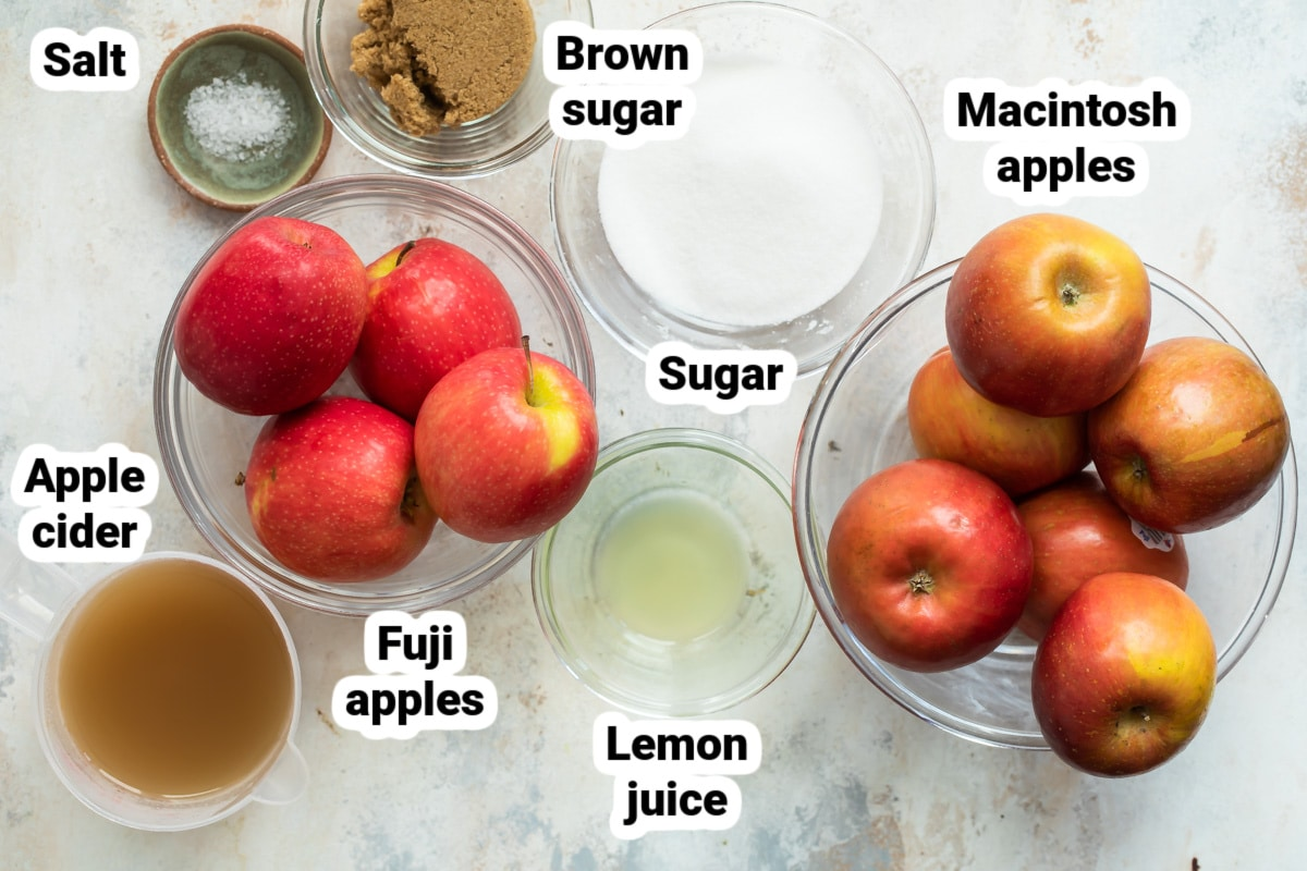 Labeled ingredients for apple butter.