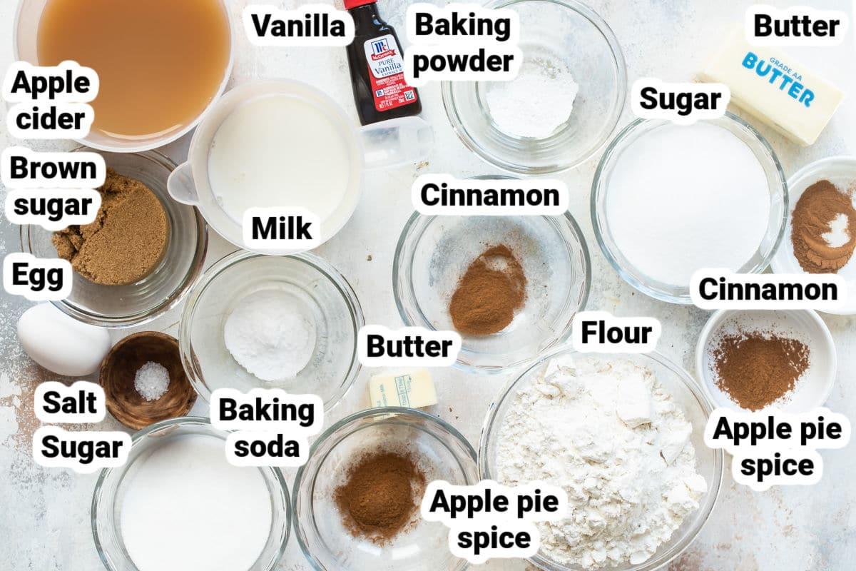 Labeled ingredients for apple cider donuts.