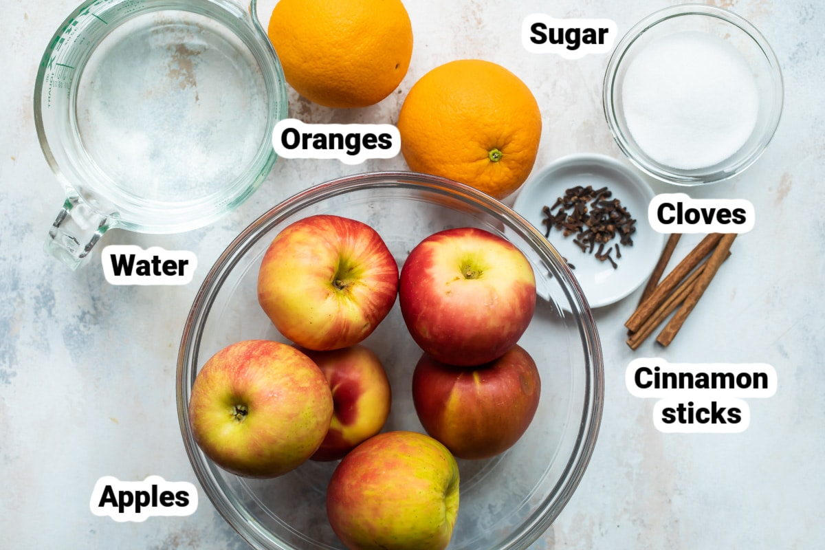 Labeled ingredients for apple cider.