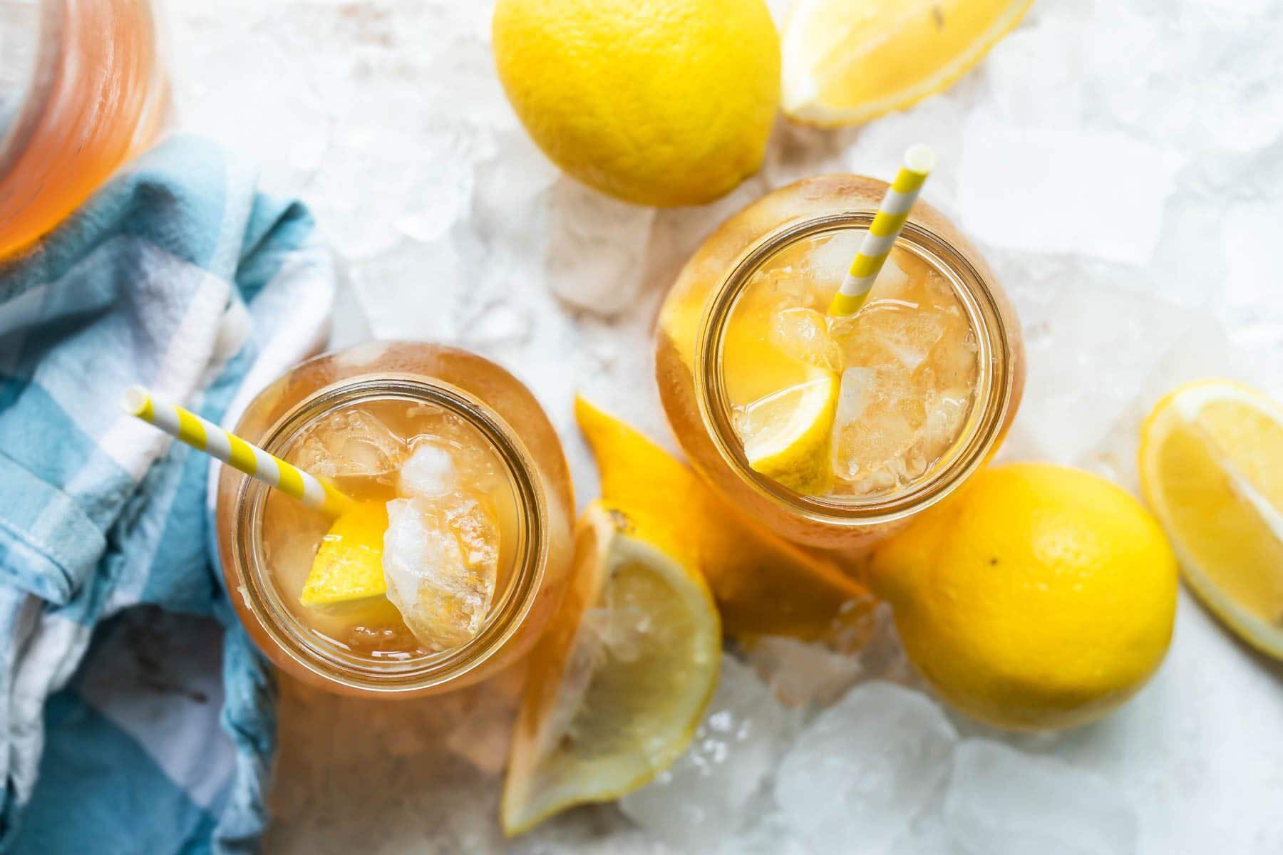 Glasses of arnold palmer (iced tea and lemonade).