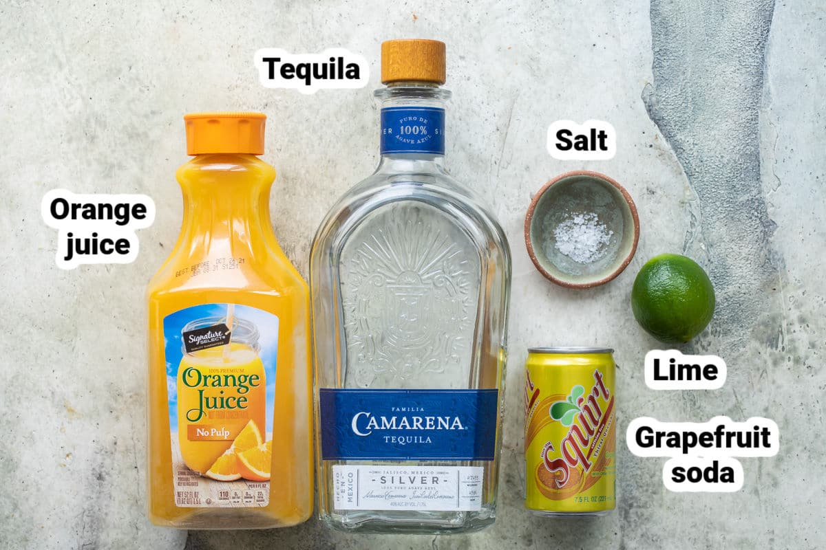 Labeled ingredients for cantarito.