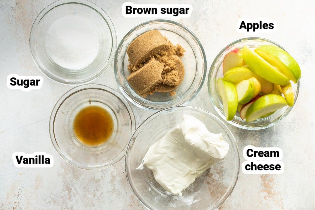 Labeled ingredients for caramel apple dip.