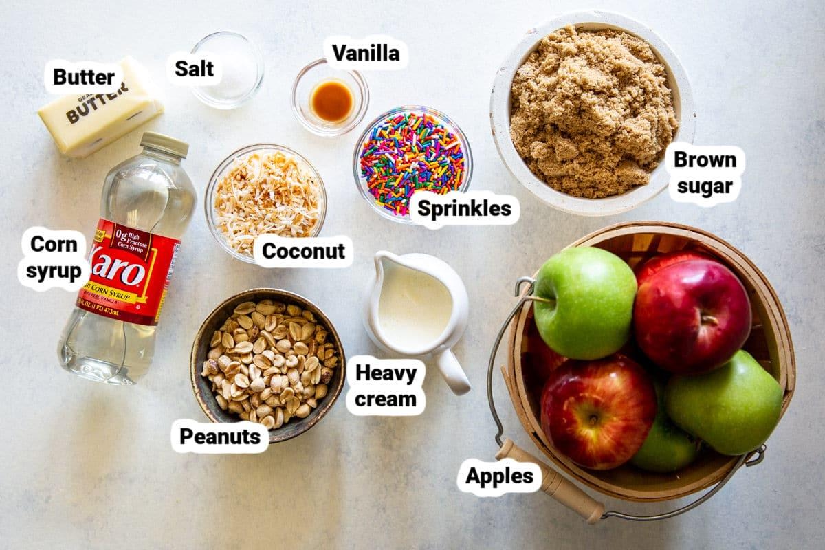 Labeled ingredients for caramel apples.