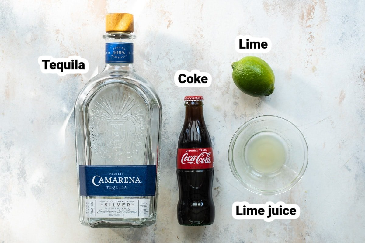 Labeled ingredients for a Charro Negro cocktail.