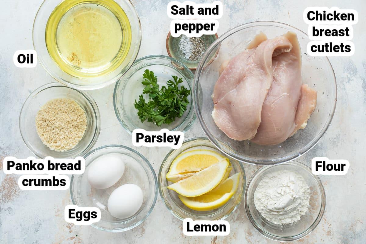Labeled ingredients for chicken schnitzel.