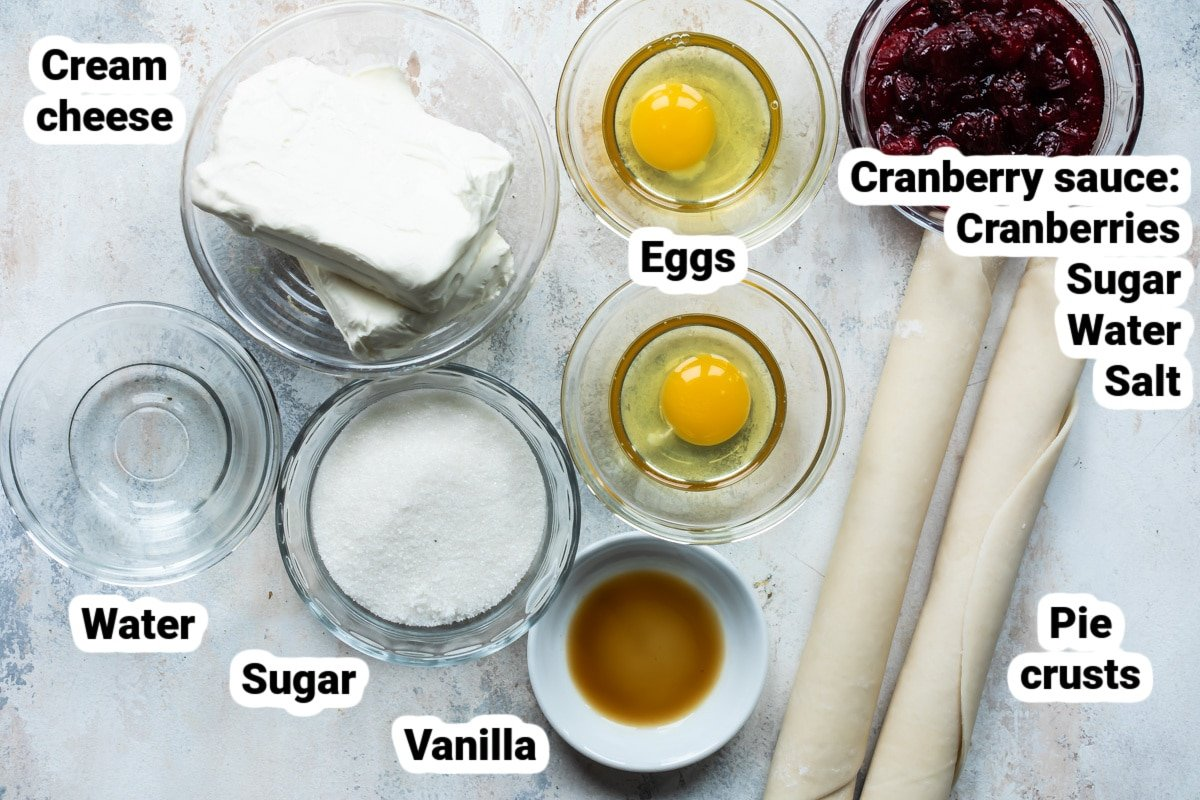 Labeled ingredients for cranberry cheesecake galette.