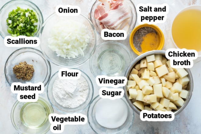 Labeled ingredients for German potato salad.
