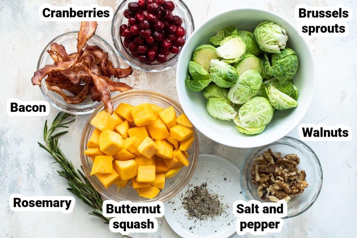 Labeled ingredients for harvest roasted vegetables.