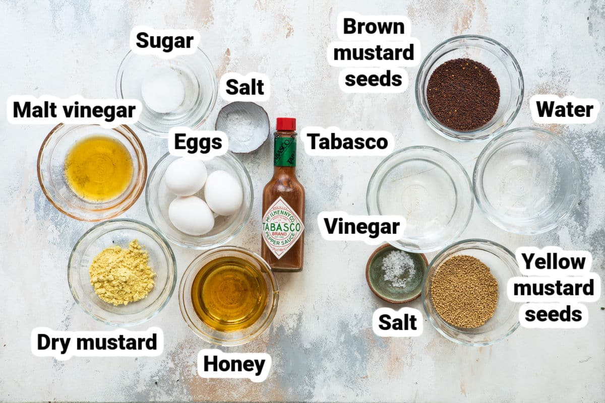 Labeled ingredients for how to make mustard.