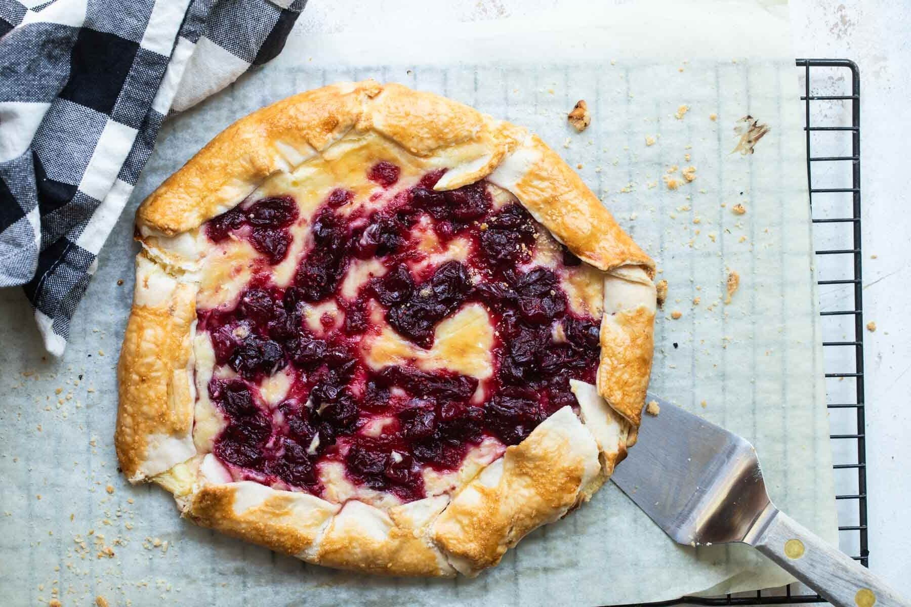 A cranberry cheesecake galette.