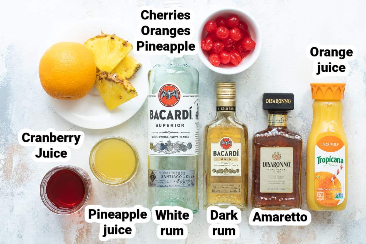 Labeled ingredients for pirate punch.