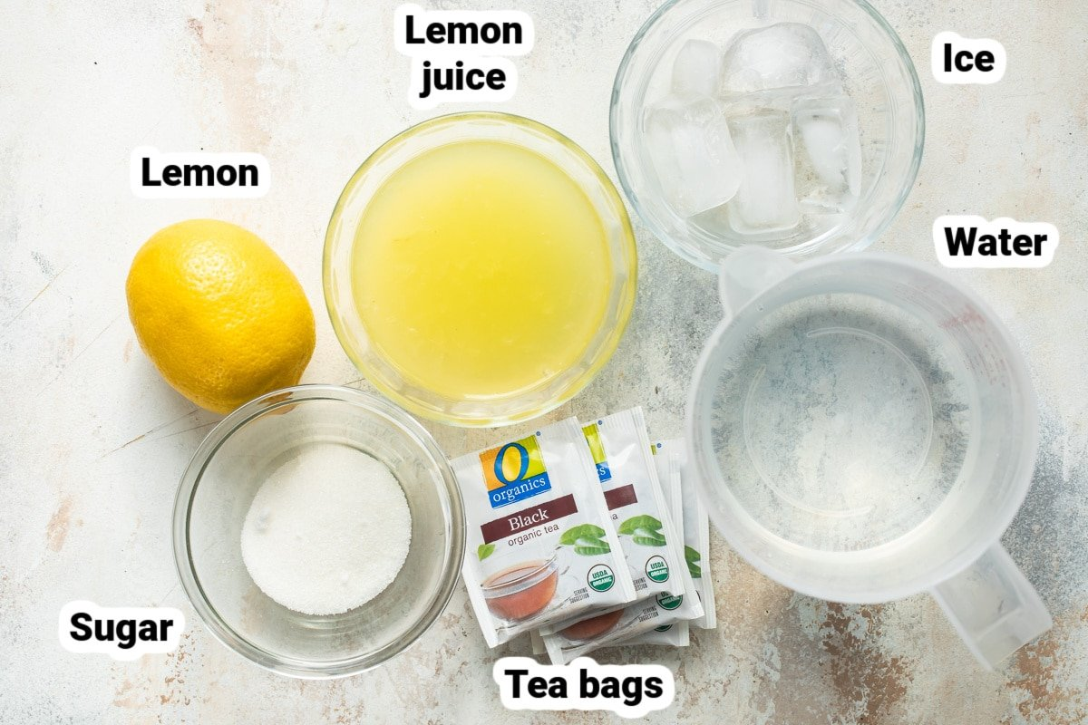 Labeled ingredients for an arnold palmer.