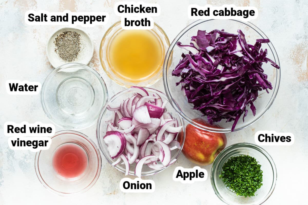 Labeled ingredients for braised red cabbage.