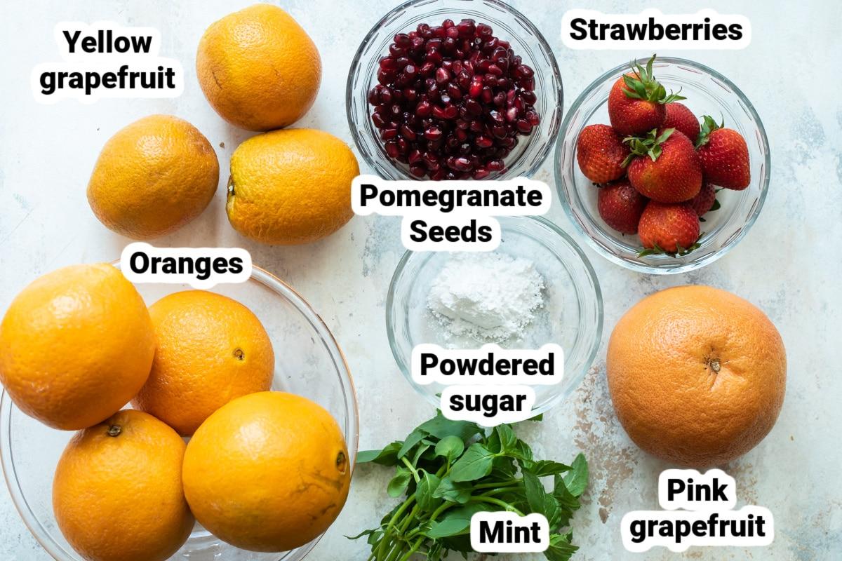 Labeled ingredients for citrus salad.
