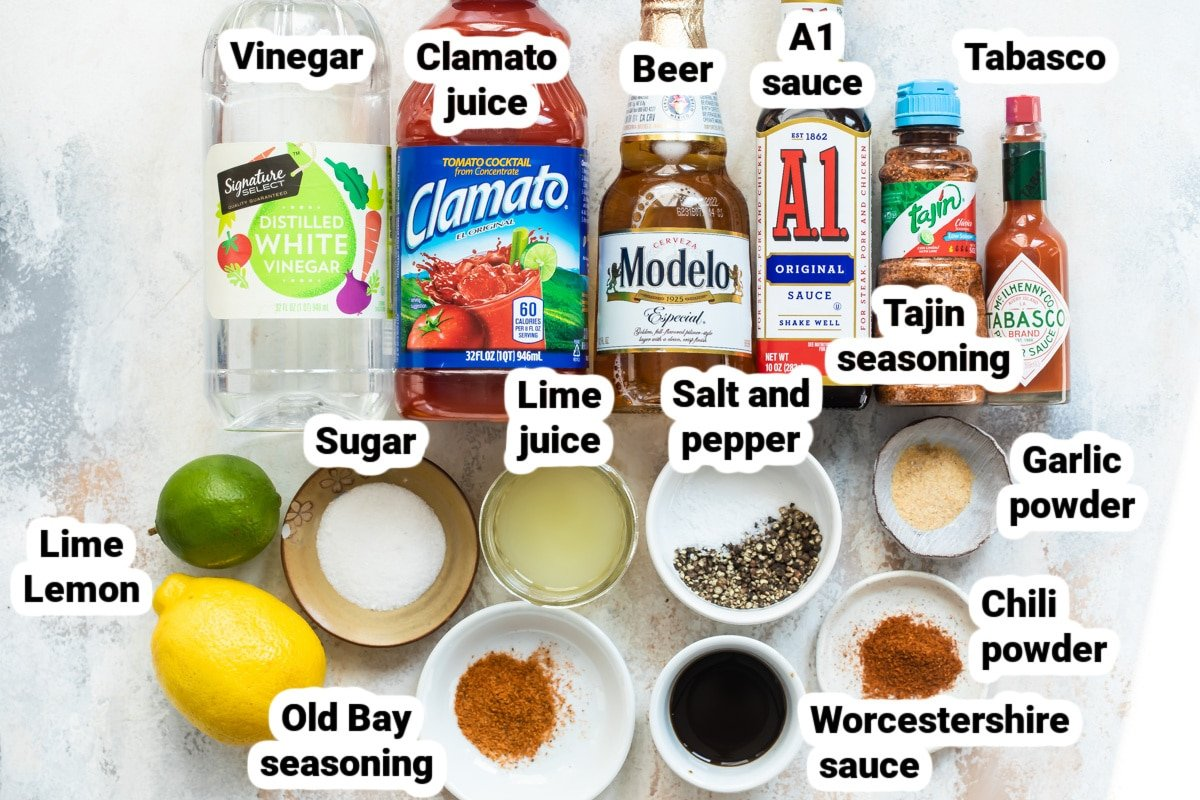 Labeled ingredients for a Michelada.