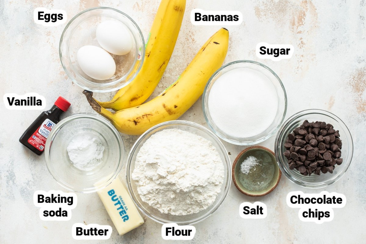 Labeled ingredients for banana bread.