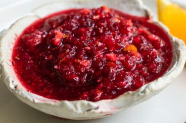 Cranberry relish in a white bowl.